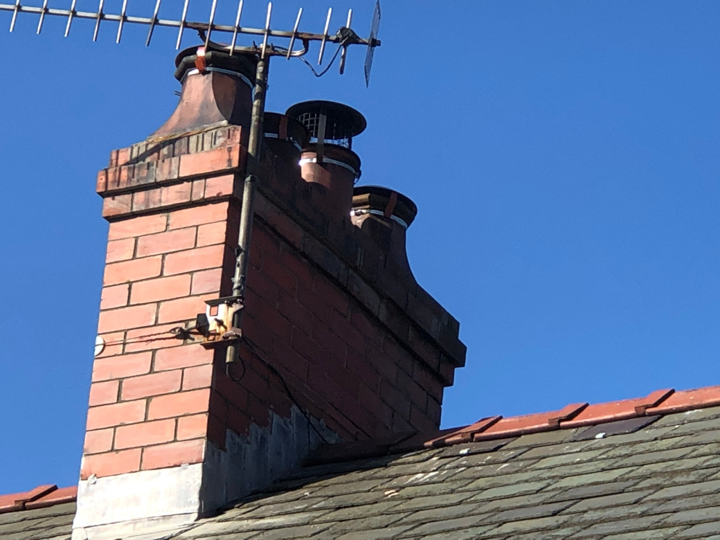Chimney capped and stacked in Rhyd y Foel.